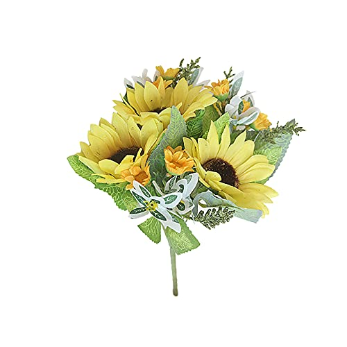 FGYZYP Artificial Sunflowers Bouquet, Silk Realistic Fake Sunflowers with Stem, Handcrafted Faux Yellow Sun Flower for Outdoor Home Wedding Garden Office Party Floral Arrangement Christmas Decoration
