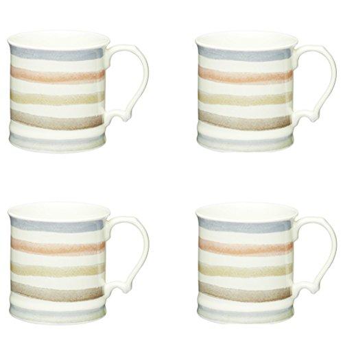 KitchenCraft Classic Collection Keramikbecher im Vintage-Stil, 350 ml, 4 Stück