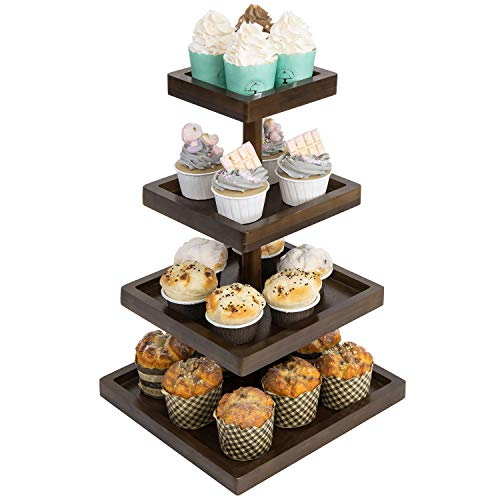 MyGift 4Tier Contemporary Dark Brown Bamboo Square Cupcake Display Stand
