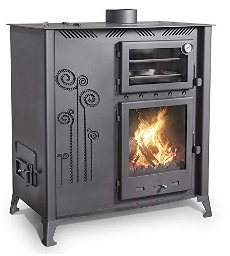 Cocina mixta de madera pellet con horno de cocina de 12 kW, hornillo de madera y granulado, sartén de madera y gránulos, para cocina, troncos de hasta 40 cm, puerta frontal vidriada, antracita
