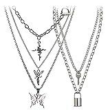 BVROSKI Lock Key Pendants Chains Necklace Set for Eboy Egirl Men Male Emo Goth Women Teen Girls Boys Jewelry Pack for Pants Punk Play (Butterfly 3pcs + Key Lock Silver (5 layer))