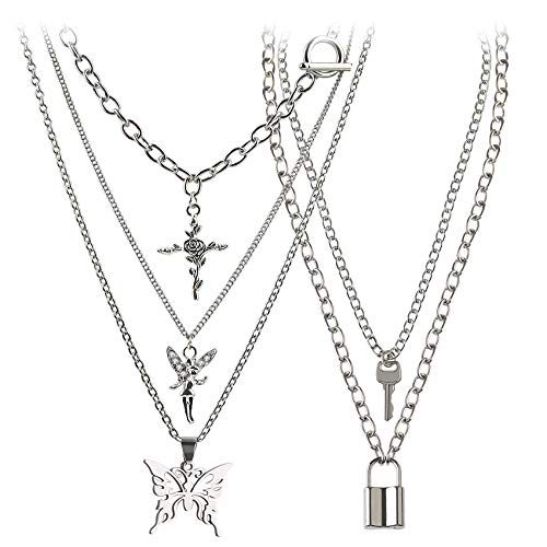 Holylove Butterfly Chains Necklace - Angel Layered Choke Lock Key Pendant Necklace Silver Set for Men Women(5 Layer)