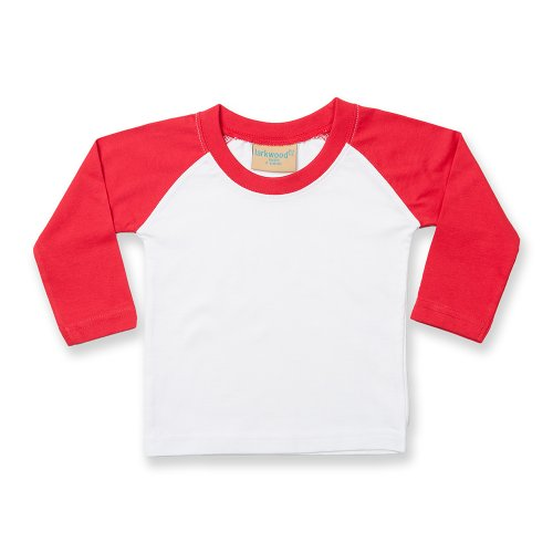 Larkwood- Camiseta de manga larga estilo béisbol para bebé (24-36 meses/Blanco/Rojo)