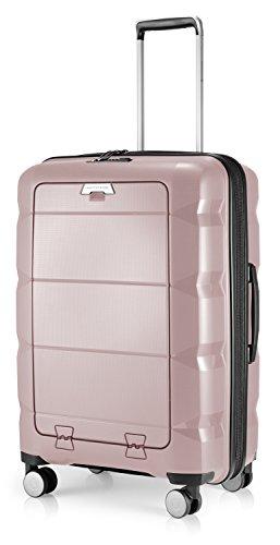 HAUPTSTADTKOFFER - Britz - Hartschalen-Koffer mit Laptopfach Koffer Trolley Rollkoffer Reisekoffer Erweiterbar, TSA, 4 Rollen, 66 cm, 60 Liter, Altrosa