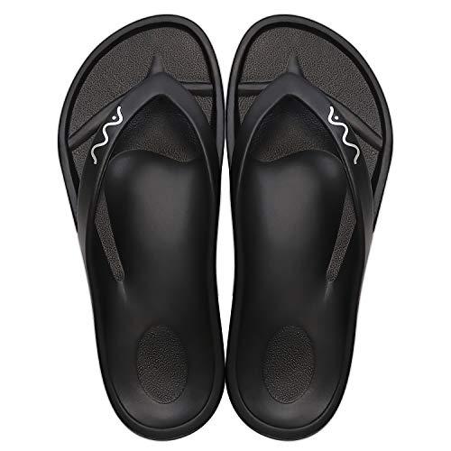 OT VVA Flip Flops   Unisex Indoor Use and Summer Beach Sandals   No Slip Comfort Arch Support Thong Slippers, Black, 14 Women/12 Men