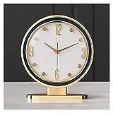 Wyxy Reloj De Mesa, Reloj De Mesa De Cuero De Una Cara para El Hogar, Reloj De Mesa con Decoración De Números Arábigos, Reloj De Mesa con Pilas De Chimenea De Vidrio (Color: Azul)