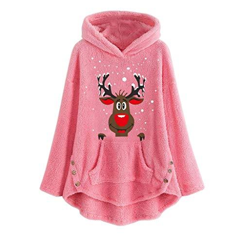 INLLADDY Hoodie Damen Pullover Plüsch Elch drucken Top Lockerer Saum Lange Ärmel Weihnachten Pulli Frauen T-Shirt Rosa XL