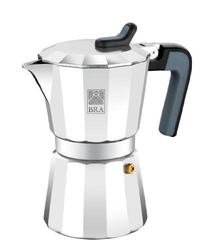 BRA Deluxe2 - Cafetera, Capacidad 6 Tazas, Aluminio, Negro, Acero Inoxidable