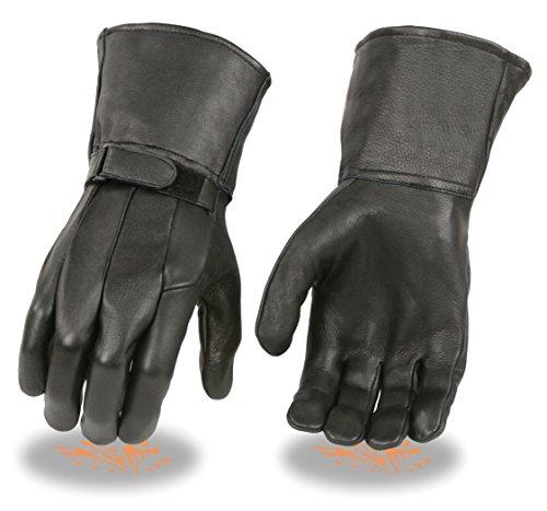 Milwaukee Leather SH864 Men's Black Deerskin Unlined Gauntlet Gloves - Medium