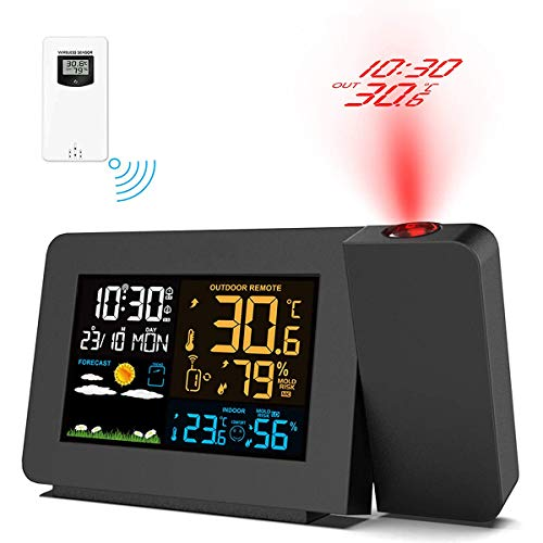 Upgrade Projection Alarm Clock, Weather Station with Outdoor Sensor, Alarm Clock with Indoor/Outdoor Digital Temperature Display,Projector Dimmable, Dual Alarms, Colored Backlight, Weather Forecast