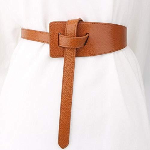 Correa De Las Señoras Suéter Falda Decorativa con Ancho Cinturón Negro De Cuero De Vaca Abrigo Gabardina Anudada LYMY (Color : Brown (Narrow Version))