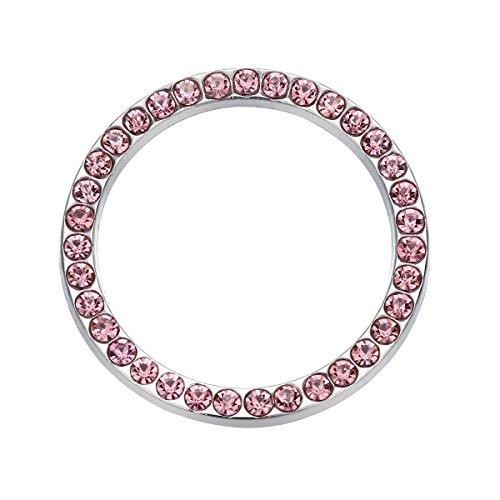 VOSAREA Auto Motor Start Stop Button Ring Kristall Bling Strass Auto Dekor Zubehör (Pink)