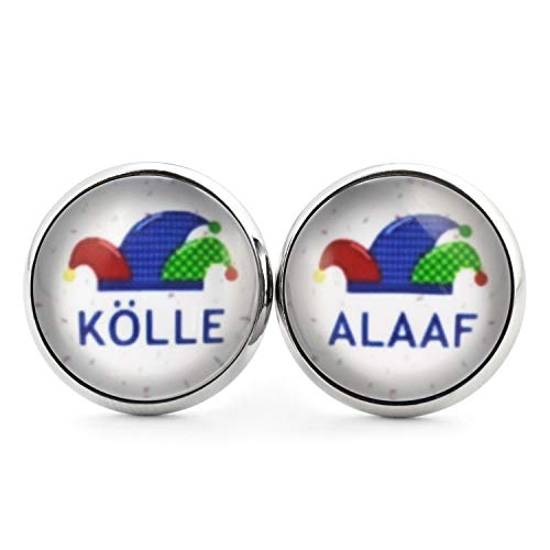 SCHMUCKZUCKER Unisex Ohrstecker mit Motiv Narrenkappe Alaaf Edelstahl Ohrringe Silber Bunt 14mm Kölle Alaaf