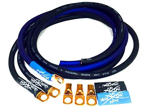 Sky High Oversized 4 Gauge OFC Big 3 Upgrade Blue/Black Electrical Wiring Kit