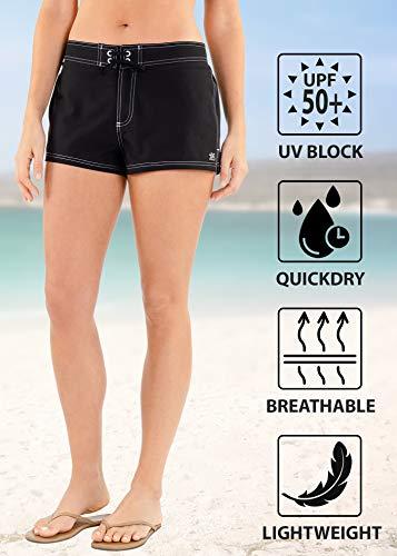ZeroXposur Women's Swim Shorts with Inner Brief and Back Pocket (Liquorice, Medium)