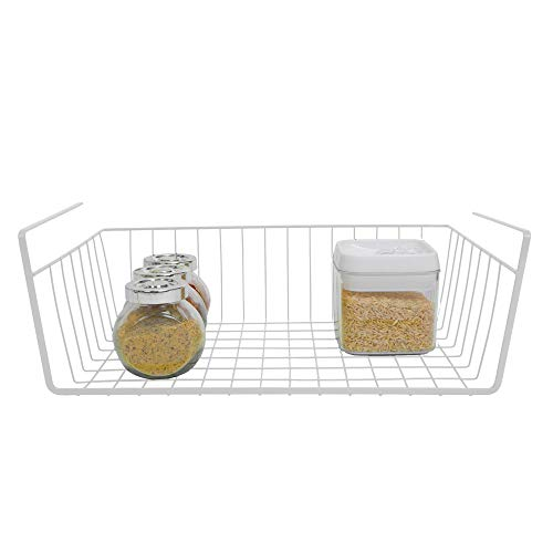 Smart Design Undershelf Storage Basket - Medium - Snug Fit Arms - Steel Metal Wire - Rust Resistant Finish - Cabinet, Pantry, Shelf Organization - Kitchen (16 x 5.5 Inch) [White]