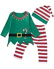 K-youth Ropa de Bebe Niño Navidad Pijamas Niño Navidad Invierno Ropa para Bebe Niña Recien Nacido Bebe Disfraz Navidad Conjunto Niña Pantalon y Top Fiesta con Gorros Oferta Vestir