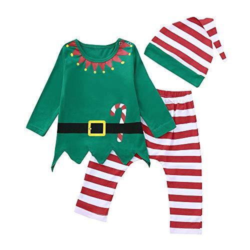 Navidad Conjunto Bebe Niña Niño Recien Nacido Elfo Tops + Pantalones a Raya + Gorra Disfraz Navidad Ropa