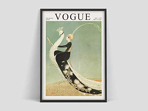 HJGB vintage cover poster,poster,magazine Cover,Fashion poster,Fashion,Art Nouveau,Family frameless canvas painting W 20x30cm