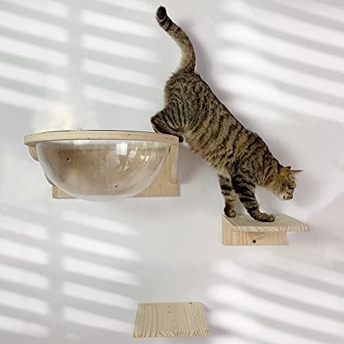 Felivecal Cápsula de la habitación de los gatos, pared o cama de madera, accesorio moderno