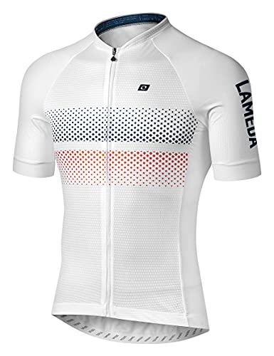 LAMEDA Cycling Jersey Mens Short Sleeve Road Bike Bicycle Shirt Reflective Breathable Lightweight White Medium