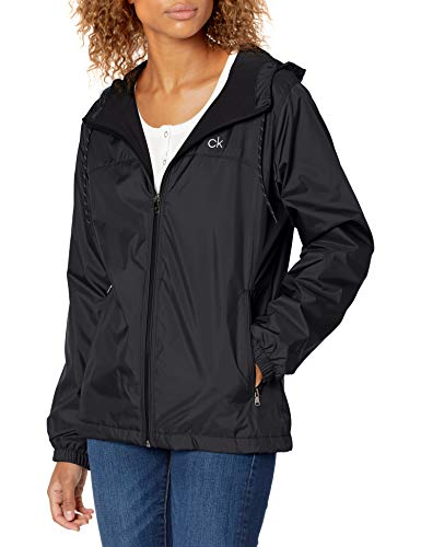 Calvin Klein Women's Zip Front Windbreaker, Black, Medium