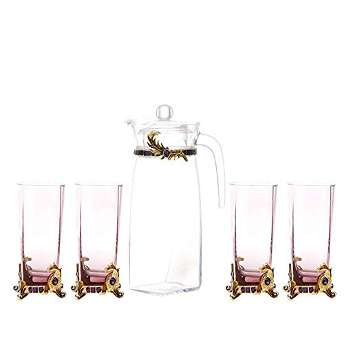 WLGQ European Tea Set Gold Enamel Carved Square Flower Tea Cup Business Gift Juice Cup Glass Teapot Ceramic Bone China Tray Afternoon Tea Party,a