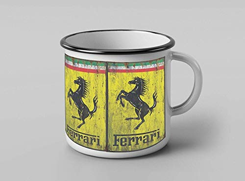 The Shizzle Print Co Mug rétro en émail Motif Ferrari 355 ml