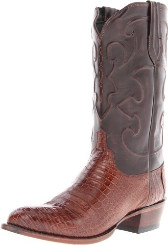 Lucchese Classics Men's Charles-sien Bly Croc/dkbrn Derby Cal Riding Boot, Sienna, 11 D US