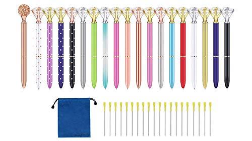 Big Diamond Pen 20 Pieces Rhinestones Crystal Metal Ballpoint Pens Black Ink With 20 Pack 3.2'' Ballpoint Pen Refills, Different Colors (20Pcs Big Diamond Pen) Photo #5