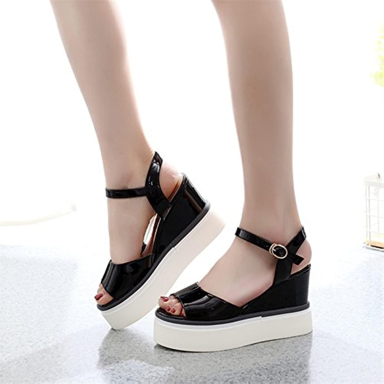 GTVERNH-spesso il fondo seali donna summer parola fibbia dita dei piedi semplicità roma sautope da donna 36 nero