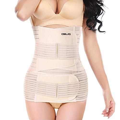 obliq 3 in 1 Post Pregnancy Belt for Belly, Waist & Pelvis Slimming Shapewear for After Delivery C-Section Abdomen/Tummy Reduction Postpartum Stomach Wrap (Beige, XX-Large Waist (43-48 Inches))