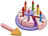 Idena 4100109 - Kleine Küchenmeister Geburtstagstorte aus Holz, für Spielküche und Kaufmannsladen, ab 3 Jahre, ca. 15 x 15 x 8,5 cm