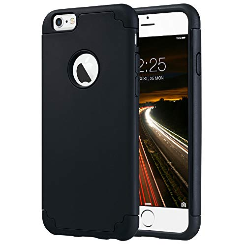 ULAK Case for iPhone 6, iPhone 6S Case, Slim Fit Dual Layer Soft Silicone & Hard Back Cover Bumper Protective Shock-Absorption & Skid-Proof Anti-Scratch Case for Apple iPhone 6/6S 4.7 inch-Black