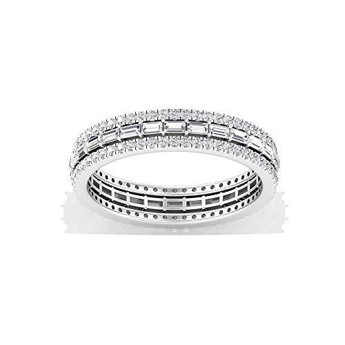 SGL Certified Baguette Anillo de eternidad de diamantes, ancho de diamante HI-SI Color Clarity, anillo de compromiso de aniversario apilable, regalo de San Valentín, 14K Oro blanco, Size:EU 63