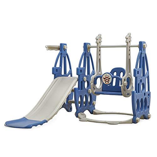 HAPPYMATY 3 in 1 Kinderrutsche Schaukel Basketballkorb in einem Spielturm Spielplatz Indoor Outdoor Kletterturm Aktivitätszentrum