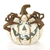 The Lakeside Collection Lighted Spooky Halloween Ceramic Pumpkin Decoration - White