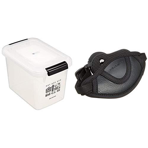 【セット買い】HAKUBA ドライボックスNEO 9.5L クリア 防湿庫 KMC-37 & HAKUBA カメラグリップ ピクスギア カメラグリップストラップ 一眼レフ用 ブラック KGP-04