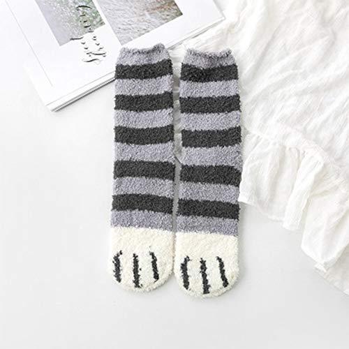 2 Pares de Calcetines de algodón Invierno Divertido Estampado Gato Pata Calcetines cálidos Kawaii Lindo Casual Feliz diseñador de Moda Calcetines para Hombres y Mujeres-Gray Stripes Socks-One Size