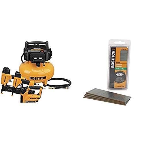 BOSTITCH Air Compressor Combo Kit, 3-Tool (BTFP3KIT) & 18 Gauge Brad Nails, 2-Inch, Coated, 1000 per Box (BT1350B-1M)