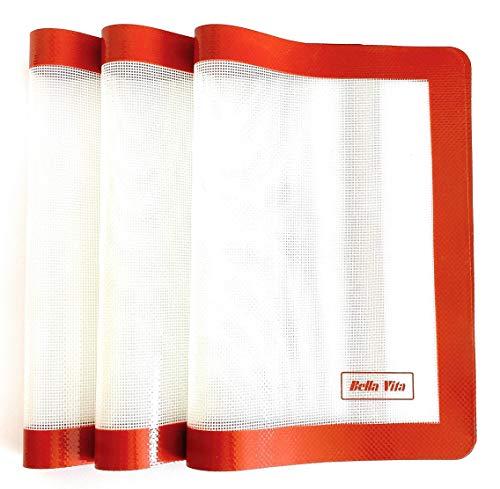 Tapis de cuisson en silicone,3 Pieces, réutilisable, anti-adhésif, facile à nettoyer, approuvé LFGB, qualité professionnelle, pour biscuits, pâtisseries, 42 cm x 29 cm