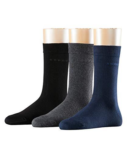 ESPRIT Damen Socken Solid-Mix - Baumwollmischung, 3 Paar, Verf. Farbe: Grau/Marine/Schwarz, Einheitsgröße (36-41) - Strümpfe aus hautfreundlicher Baumwolle