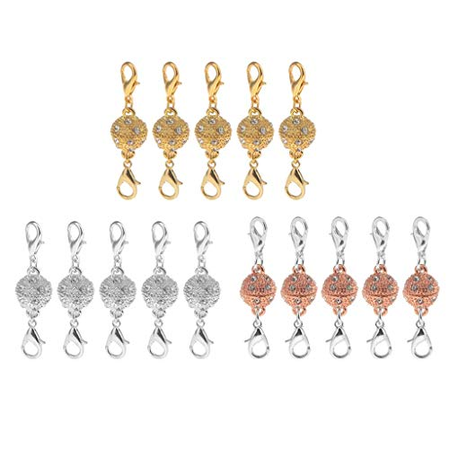 15 Piece Round Crystal Ball Magnetic Clasps with Two Sides Lobster Hook Jewelry Fastener Claw Hook Full Shiny Rhinestone Bracelets Earrings Rings Necklaces