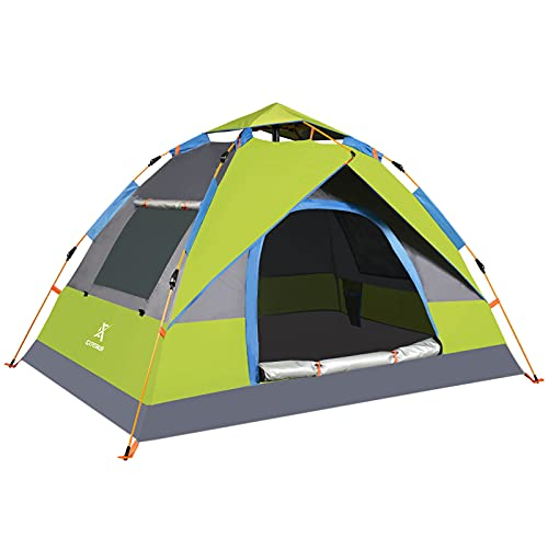 Extremus Camping Tent, Family Tents for Camping, Quick Set-Up, 2 Person Outdoor Tent, Gray/Chartreuse, 1 Door