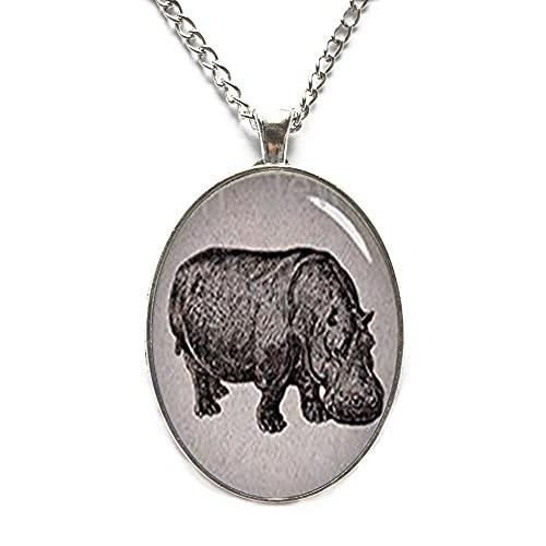 Collar de hipopótamo, collar de hipopótamo, colgante de hipopótamo, joyería de hipopótamo, colgante de hipopótamo-JV333