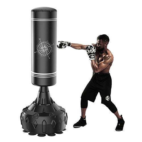 LieYuSport Standboxsack für Erwachsene & Jugendliche Kinder, 170cm Freistehender Boxsack Boxpartner mit Starker Saugnapfbasis, Stabil Sandsack Boxen Boxing Bag für Kickboxen MMA Taekwondo,Schwarz