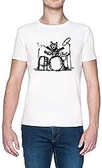 Batería Gato Blanca Hombre Camiseta White Men's T-Shirt tee