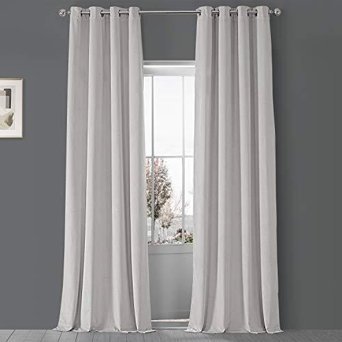 HPD Half Price Drapes VPCH-110602-84-GRBO Signature Grommet Blackout Velvet Curtain (1 Panel), 50 X 84, Off White