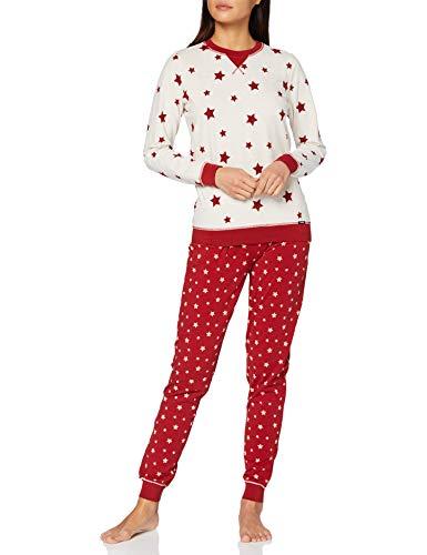Skiny Damen Pyjama lang Pyjamaset, beigemelange Stars, 42
