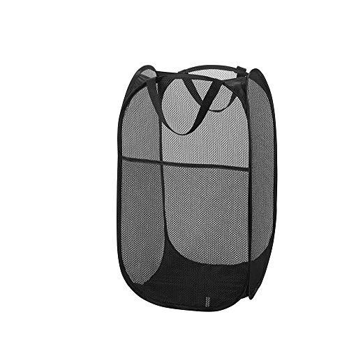 Kaptin Wäschekorb mit Seitentaschen, Netzstoff, quadratisch, Schwarz, 1 Stück